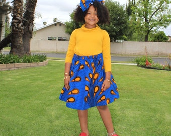 Blue African Ankara Skirt, Headwrap, Yellow Skirt, African Baby Clothes, Hair Wrap, Hair Accessory, Girls Clothing