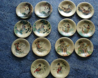 set of 14 cups for food or other bamboo with Chinese designs