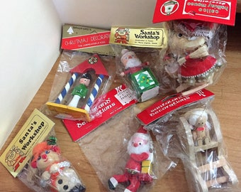 13 Comodore, Santa's Workshop, Santaland Christmas Ornaments in Original Packages C1970's