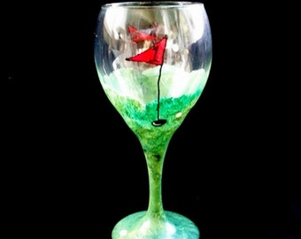 Hand Painted Golf Wine Glass -- Completely Washable Perfect Golfer Gift
