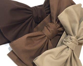Brown Headwrap, Girls, Baby Girl, Head Wrap, Headband, Big Bow, Fall Photo Shoot, Solid Espresso, Mocha, Latte, Coffee - CHOCOLATE BROWN
