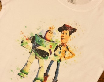Toy Story Buzz and Woody Watercolor Disney Tee