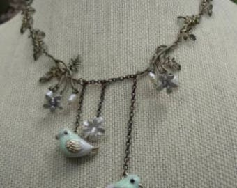 Vintage Lovebirds and Flowers Necklace