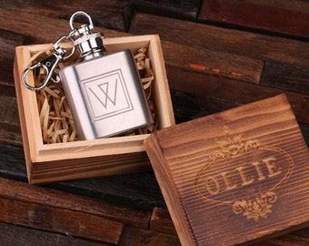 Personalized 1 oz Stainless Steel Metal Whiskey Scotch Flask Key Chain Unique Men Christmas, Groomsmen, Man Cave, 21st Birthday Gift