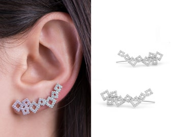 Sterling Silver 925 With Rhodium or Gold Microns Cubic Zirconia Ear Climber Cubes Earrings Queen's Jewelry