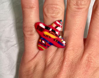 Ring fimo butterfly, red and multicolored patterns