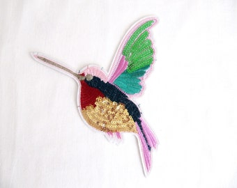 Sora Iron On Bird Patch,BIRD Applique, Sequin Bird Patch ,Iron On Bird, Sew On Bird,Embroidered Bird,Bird Costume accessory