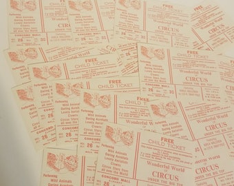 6 vintage circus tickets red white color paper ephemera NOS 1970's Vintage advertising paper art supplies