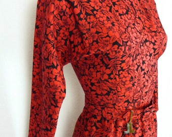 Long dress LANVIN 1970 patterned floral, red and Black wool - size 36 Size S small size - VINTAGE 1970
