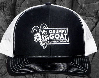 Black Trucker Hat with White Mes