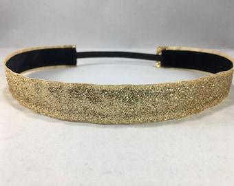 EmBands - Gold Shimmery Non-Slip HeadBand; Girls Headband; Sparkling Headband; Gold Headband; No Slip Headband; Workout Headband; Cheer
