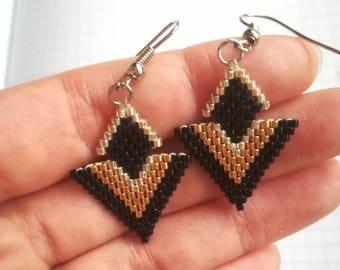 Geometric metallic miyuki beads earrings