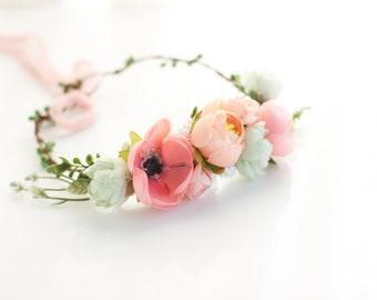 Peach Pink Flower Crown, Peach Flower Girl, Peach Floral Crown, Maternity Flower Crown, Peach Flower Crown, Spring Flower Crown, Peach Halo