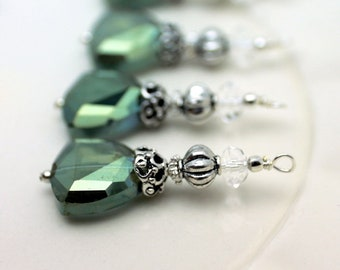 Green Triangle Crystal with Clear Crystal Bead Dangle Charm Drop Pendant Set
