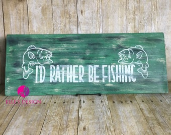 I'd Rather Be Fishing w/Bass Fish Homemade Vintage REAL Wood Decor