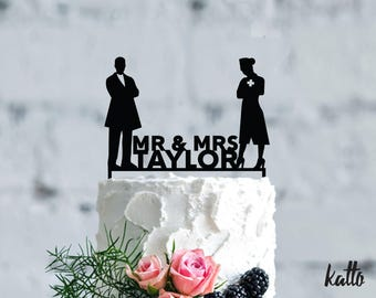Doctor and Nurse Bride Wedding cake topper, funny cake topper, Customizable Wedding Cake Topper, Personalized wedding medical cake topper