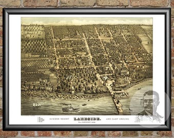 Sandusky, Ohio Art Print From 1884 - Digitally Restored Old Sandusky, OH Map Poster - Perfect For Fans Of Ohio History