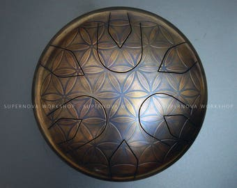 Steel tongue drum  - Flower of life Ø11,8'' E-major. Handpan Tank drum Zen sound Hank drum Propane tank Musical instrument Meditation drum