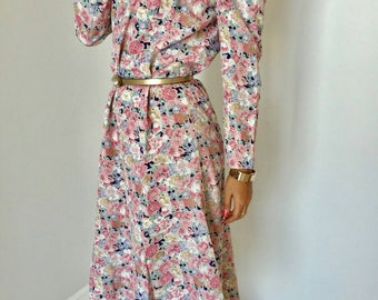 Floral baby pink and pastel vintage dress
