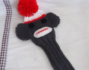 Hand-Knit Sock Monkey Golf Club Cover - Knit Golf Club Cover - Golf Club Sleeve