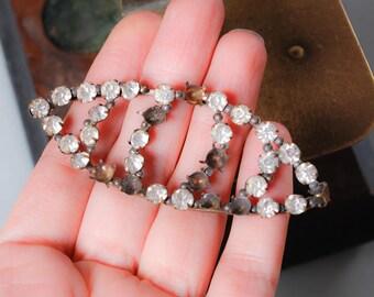 Antique plate, brass parts of  jewelry, glass rhinestones