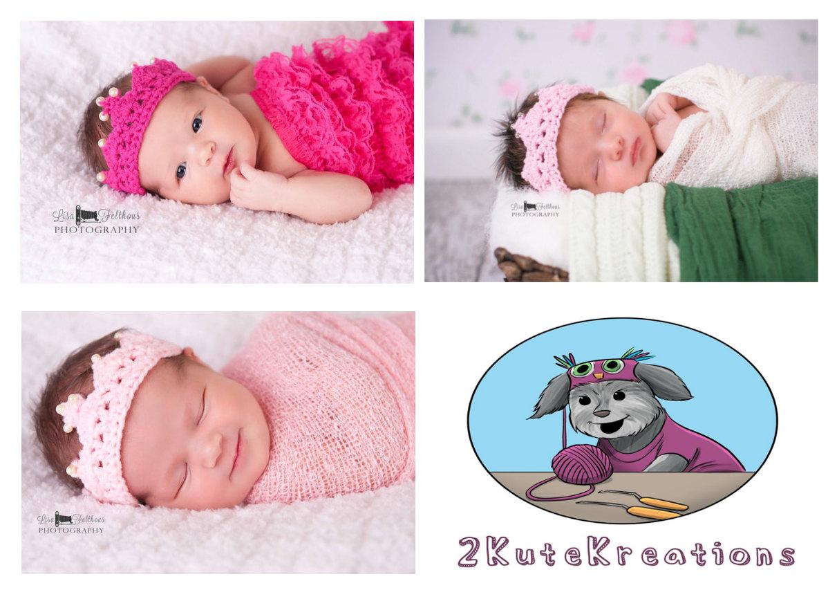 Baby girl, Crochet headband, Baby headband, Twins photo prop, Crochet photo prop, Baby girl tiara, Crown for twins, Preemie crowns, set of 2