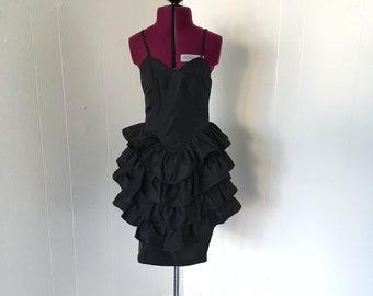 Vintage Strapless 80s Black Ruffle Prom Dress Sz XXS