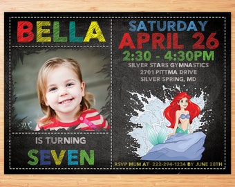 Little Mermaid Invitation - Disney Princess Ariel Invite - The Little Mermaid Birthday Invitation - Disney Princess Ariel Birthday Party