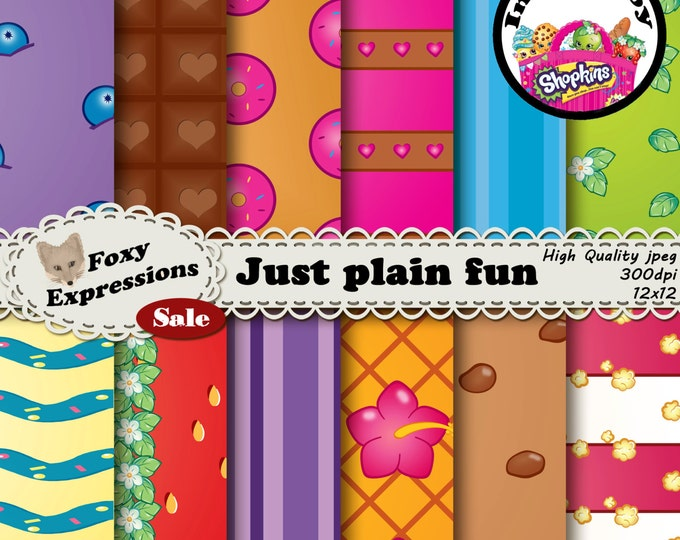 Just for fun digital paper pack is inspired by Shopkins. It features Strawberry Kiss, Kooky Cookie, Apple Blossom, Pineapple Crush, and more