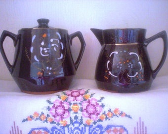 Redware Sugar Bowl  and Creamer
