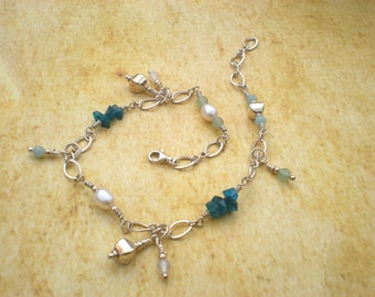 Barefoot on the beach anklet, sterling silver, amazonite, green aventurine, apatite, white agate, white pearls, beach ankle bracelet