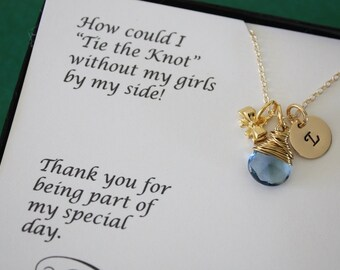9 Tie the knot Bridesmaid Necklace Personalized , Bridesmaid Gifts, Bow Necklace, Gold, Gemstone, Initial jewelry, Thank you Card