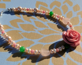 Chloris Choker Necklace - Flower Choker Bead Rose Quartz Pearl Necklace Gift For Her