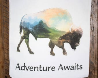 Watercolor American bison tote bag - adventure awaits buffalo canvas carryall bag