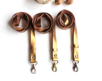 Golden leather lanyard, Ready to ship, keychain, choose your color of hardware, long keychain, gift for her