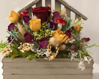 Dry Flower Bouquet\Table Center Piece\Rustic\Dried Flowers\Arrangement\Girl Gift\Enchanted\Dry Roses\Home Decor\Country\Flowers\Roses\Dry\