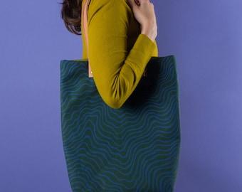 Tote #1  | Canvas Leather Tote Bag, For Her, Shoulder Bag, Handbag, Carryall, Hand Printed, Pattern, Colorful, Unique, Periwinkle, Hunter