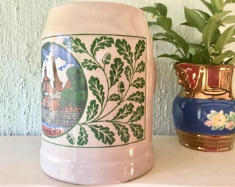 Vintage stoneware beer mug stein, souvenir, Luneburg, Made in West Germany, collectible beer tankard, 0.5 ltr