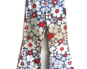Retro Red White and Blue Floral Flared Bellbottom Disco Pants