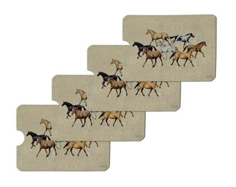 Horses of different colors credit card rfid blocker holder protector wallet purse sleeves set of 4