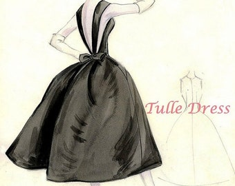 Little Black Dress Vintage Couture Fashion Sketch Collection of 4 with pencil detail (various images and sizes)