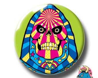 Skeletor Badge Green. Skeletor Pin. Badge. Pin. Pin Badge. Pin Badges. Badges. Pins. Button Badges. MOTU Pin Badge. He Man Pin Badge.