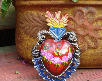 Hearts Tin Heart Milagro With Flowers Rays or Painted Flowers