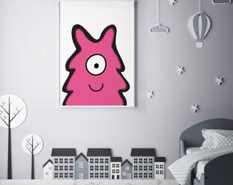 """Monster Poster Print Wall Art by BABUA – """"Lucy"""" 