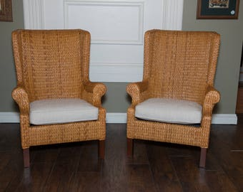Palecek Grass Wingback Chair   Upholstered Cushion   Reupholstered Vintage Furniture