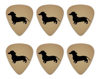 Dachshund wiener dog novelty guitar picks medium gauge - set of 6