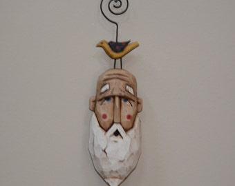 Santa Head Primitive Folk Art Christmas Ornament