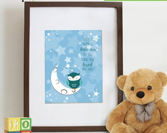 Owl Print, Twinkle little star, Owl art, owls, Owl Nursery, Owl family, Nursery Print, Item 033