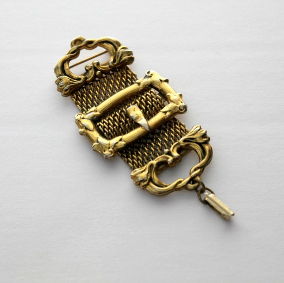 Antique Belt Buckle Watch Fob, 1890s Victorian Style Gold Tone