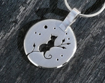 Silver Jewelry, Silver Pendant, Silver Jewellery, Cat Jewelry, Cat Pendant, Midnight Kitten in Tree Pendant.